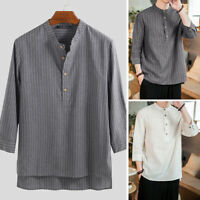 Retro Men's Casual Shirts Shirt Half Sleeve Chinese Style Striped Print Top Tees
