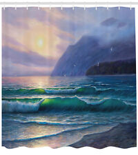 Nature Shower Curtain Ocean Morning Mountain Print for Bathroom 70 Inches Long