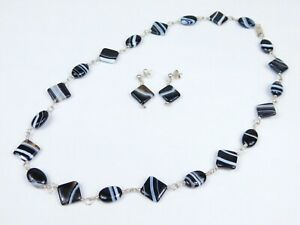 Scottish Banded Agate Necklace & Earring Set 925 Sterling Silver Stunning!