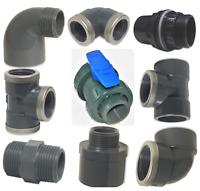 Gewinde Fittings, Verschraubung, Muffe, Winkel, T-Stück, PVC
