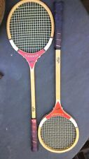 Pair of vintage Slazenger wooden squash rackets