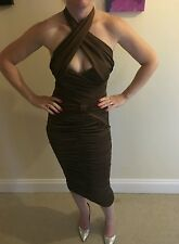 NEW Ladies Boohoo Ruched Bronze Dress. Size 8.