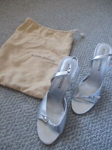 """Michael Shannon Strappy Sandals Leather Silver Shoes 4 1/2"""" Heels Sz 7W dust bag"""