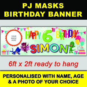 ***NEW*** PERSONALISED PJ MASKS BIRTHDAY BANNER 6ft x 2ft SIZE