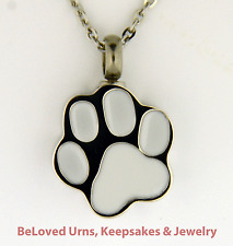 Silver & White Paw Print Cremation Jewelry Keepsake Urn - Dog, Cat, Pet