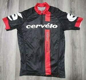 Men's Cervelo Short Sleeve Cycling Jersey Size M Ex Cond Black & Red Full Zipper