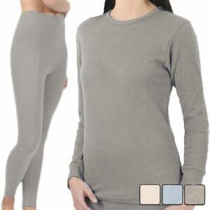 2 Stück Damen Thermo Unterwäsche, langarm Unterhemd, lange Unterhose Legging