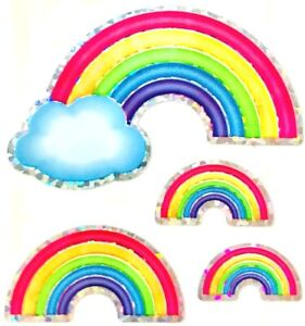 **RARE** GLITTERY RAINBOW RAINBOWS Sandylion Stickers - 3 squares <NOT IN PRINT>