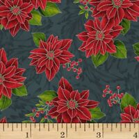 Frosted  Christmas Poinsettia Cotton Fabric Hoffman  Silver BTY   BFab