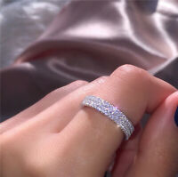 Fashion 925 Silver Eternity Ring Women White Topaz Ring Gift Wedding Jewelry