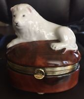 Andrea by Sadek Jewelry Trinket Box Painted Porcelain Lion Brown White