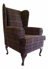Wing Back / Fireside Chair Green Lana Tartan Fabric One Only Fast&Free Delivery