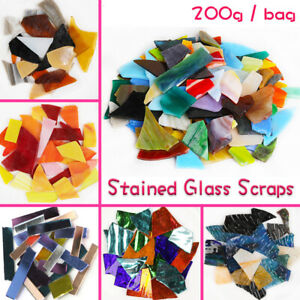 200gram Stained Glass Scraps DIY Craft Tiffany Glass Mosaic Hobbies