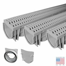 Source 1 Drainage Trench & Driveway Channel Drain With Grate - 3-Pack