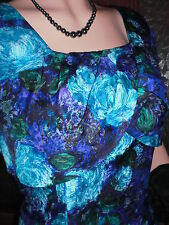 Vtg Genuine 50s Purple Blue Floral Wiggle Shift Races Dress! Size 12/14 Mad Men!