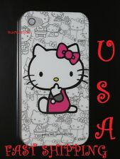 for iPhone 4 4S hard back hello kitty case plus screen protector white hot pink