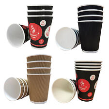1000 X 12oz Black Triple Ripple Paper Wall Disposable Tea Coffee Hot Drinks Cup