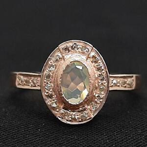 Genuine .50ctw Opal & H-SI Diamond 14K Rose Gold 925 Sterling Silver Ring SZ 6.5