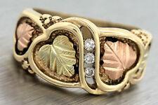 Ladies Vintage 1940s 10K 417 Tri-Color Gold Autumn Leaf Diamond Band Ring