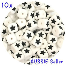 10x silicone beads STAR shape alphabet names DIY teething sensory jewellery kids