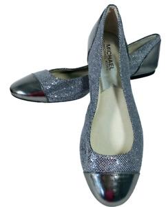 Michael Kors Shala Silver Glitter Ballet Flats Shoes Womens Sz 8.5