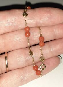 Beautiful Hallmarked 18ct Gold & Coral Baby / Young Childs Bracelet With Swans