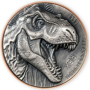 2021 Vanuatu Double Silver Giant Tyrannosaurus Rex Copper Silver Coin 1999 Made