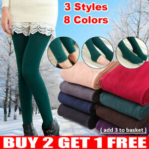 UK Ladies Women's Winter Warm Fleece Lined Thick Thermal Full Foot Tights Pants