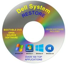 Dell System Recovery Boot Repair Restore DVD Disc Windows 10 8 7 Vista XP