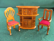 VTG DOLL HOUSE BOOK & WHAT NOT SHELF W TWO STRAIGHT BACK CHAIRS