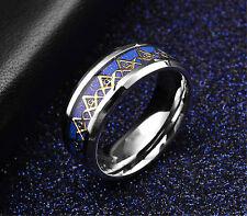 Men's Titanium Freemason Mason Ring Stainless Steel Unisex 8MM Band Size6-13