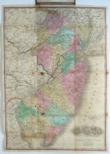 Original 1845 Handcolored Pocket Map NEW JERSEY Stagecoach Routes Leather Covers