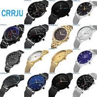 CRRJU Business Men's Ultra-thin Dial Wrist Watch Luxury Analog Quartz Wristwatch