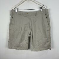 Gazman Mens Shorts 38 Beige Zip Closure Chino Stretch Pockets