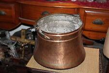 Antique Middle Eastern Copper Metal Cauldron Bucket Pot With Handle Primitive