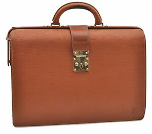 Auth Louis Vuitton Epi Serviette Fermoir Brown Briefcase M54358 LV A9698