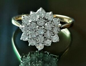 9ct Gold Cubic Zirconia Cluster Ring, Size M 1/2, Weight 2.0g