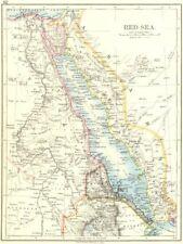 RED SEA. Egypt Eritrea Hedjaz Asir Yemen. Nile valley. Sinai. JOHNSTON 1899 map