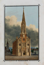 c1850 Mariahilfkirche München Munich Maria Hilf in der Au Getönte Lithographie