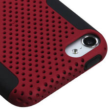 iPod Touch 5th & 6th Gen Hard&Soft Rubber Hybrid Mesh Dual Layer Skin Case Cover