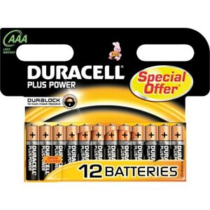 Duracell AAA Long Lasting Alkaline Battery Plus Power Pack of 12 LR03 MN2400