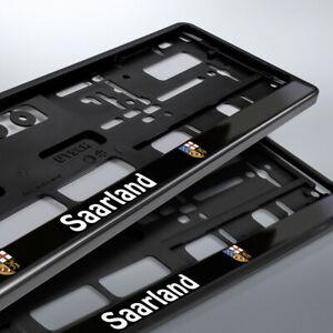 2 Kennzeichenhalter | SAARLAND | schwarz | Bundesland | 520 x 110 | DHL Versand
