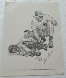 SAM SNEAD PRINT AUTOGRAPHED BY SNEAD   CIRCA 1980'S WITH COA