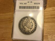 1914 Barber Half ANACS VF35 FREE SHIPPING!!! GREAT COIN!!! LOWEST MINTAGE!!