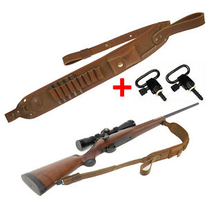 Leather Rifle Sling with Swivels Length Adjustable Shell Loops Ammo Holder Strap
