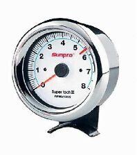 """3-3/8"""" Sun Super Tach II Tachometer White / Chrome Bezel CP7903"""