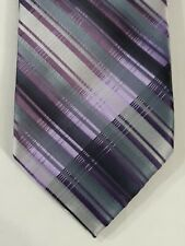 Jonathan Robert Purple Gray And White Striped Silk Neck Tie