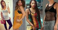 Women crochet White Black Rasta String Vest Mesh Top Reggae Net See through