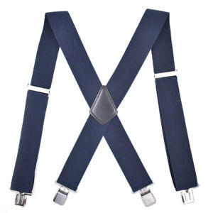 X-Type Suspenders Elastic Adjustable Straps 4 Clip Buckles Unisex Designer Suits