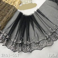 """1Yard  Elegant Wave Delicate Embroidered Tulle  Lace Trim Black 7 1/2"""" Wide"""